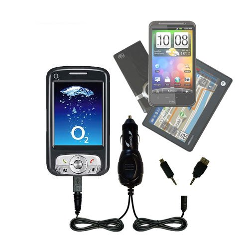 Double Port Micro Gomadic Car / Auto DC Charger suitable for the O2 XDA Atom - Charges up to 2 devices simultaneously with Gomadic TipExchange Technology