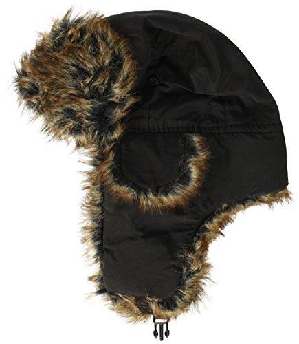 632a12357d3 ZANheadgear Trooper Hat with Grey Fur (Solid Black