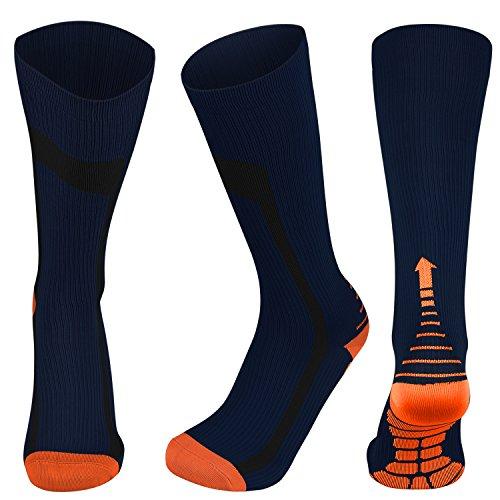Compression Socks for Men&Women (20-30 mmHg) Athletic Fit for Running,Nurses,Shin Splints, Flight Travel &Varicose Veins-Boost Stamina (Navy Blue&Orange, L/XL (US Women 8-15.5 / US Men 8-14))