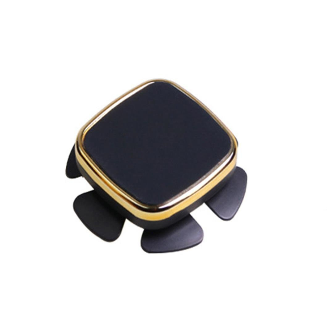 Glumes Car Magnetic Mount, Steering Wheel Rotating Universal Air Vent Magnetic Phone Car Mounts Holder for iPhone X 8 7 Plus 6S 6 5s 5 SE Galaxy S9 S8 S7 S6 Edge, LG and Mini Tablet & 2 Patch (Gold)