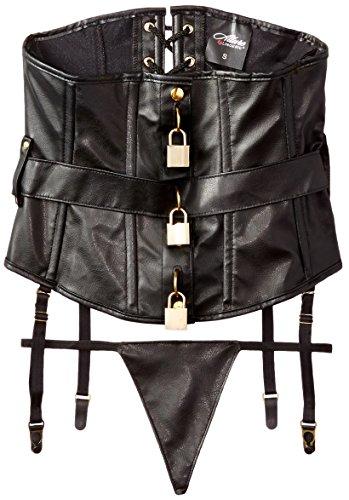 Allure Lingerie Women's Faux Leather Under Bust Corset, Black, -