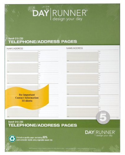 Day Runner Undated Planner Telephone and Address Refill, 8.5 x 11 Inches (018-230)