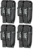 ultimate arms gear belt - Ultimate Arms Gear Pack of 4 Tactical Stealth Black Hi Point Hi-Point Double Dual 9mm .40 S&W .45 ACP Hi-Cap Pistol Handgun Caliber Magazine Mag Nylon Cell Carrier Pouch with Secure Buckle Adjustable Velcro Straps