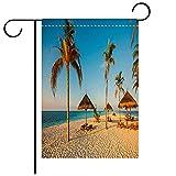 fine italian patio design ideas BEICICI Garden Flag Double-Sided Printing,Beautiful Beach with Palm Trees fine Sand and Sun beds Decorative Deck, Patio, Porch, Balcony Backyard, Garden or Lawn