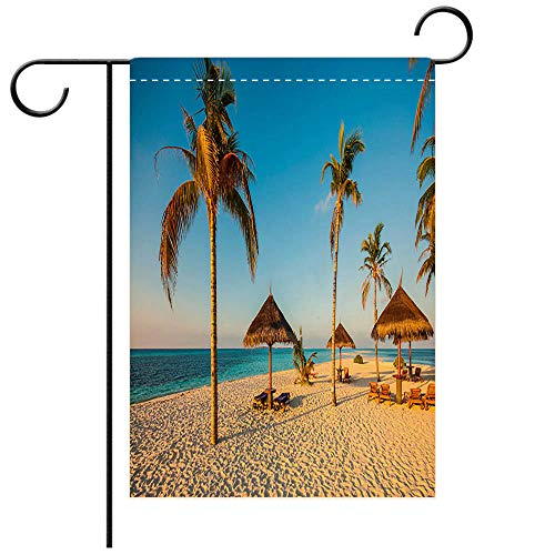 BEICICI Garden Flag Double-Sided Printing,Beautiful Beach with Palm Trees fine Sand and Sun beds Decorative Deck, Patio, Porch, Balcony Backyard, Garden or Lawn