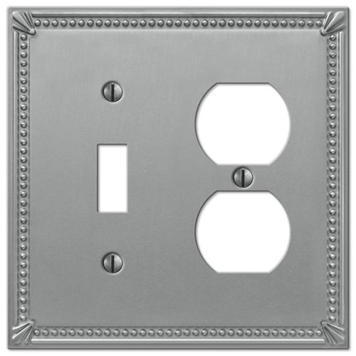 Creative Accents Wall Plate (Imperial Bead Brushed Nickel - 1 Toggle/1 Duplex Outlet Wallplate)