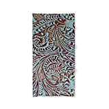Society6 Light Blue & Brown Tooled Leather Bath Towel 64''x32''