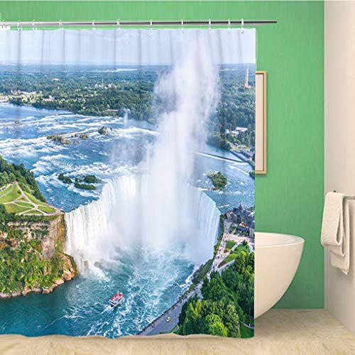Awowee Bathroom Shower Curtain Blue Tourism Niagara Falls Aerial View Canadian Canada Mist 72x72 inches Waterproof Bath Curtain Set with Hooks