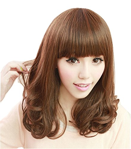 TopWigy Women Wigs Brown Long Curly Wavy Synthetic Hair Neat Bang Full Wig (Brown 14
