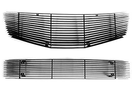 MaxMate Fits 05-09 Ford Mustang GT V8 2PC Combo Horizontal Billet Black Powder Coated Aluminum Grille Grill Insert