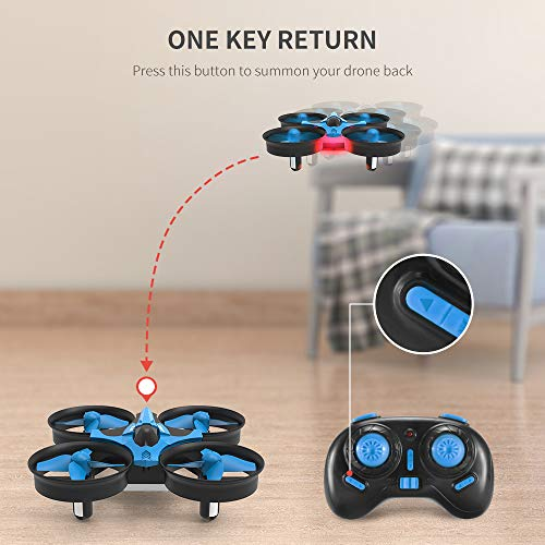 REDPAWZ H36 Mini Drone 2.4G 6 Axis Gyro Headless Mode, 360° Flips, Remote Control One Key Return RC Quadcopter, Best Drone for Kids & Beginners, Children Toys Gift -(Double Battery,Blue)