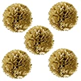 "Wrapables A67636c 8"" Set of 5 Tissue Pom Poms Party Decorations for Weddings, Birthday Parties, Baby Showers, and Nursery Decor, Gold Metallic"