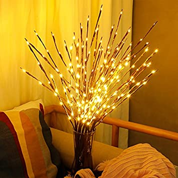 20 LEDs Light Branches Warm White Deco Branches Led Branches Battery Operated Decorative Lights for Home Room Decor Winnes LED Branch Lamp 3 Pieces