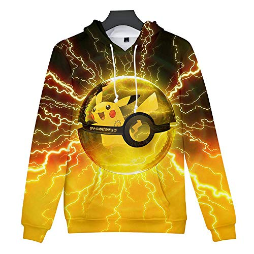 Pikachu Sweatshirt Detective Pikachu Costume Lets Go Pikachu Pokeball Plus Graphic Hoodie ()