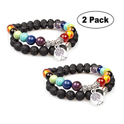 - PWMEN 2pcs Lava Rock 7 Chakra Diffuser Yoga Bracelet Buddhism Faith Bracelet with Tree of Life Symbol Charm(2PCS,Lava Chakra)