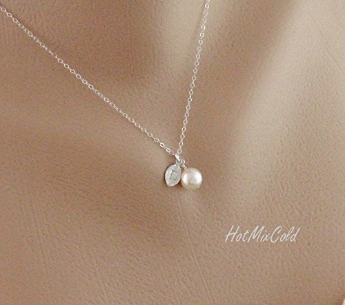 (Customized Initial Leaf Pendant and Swarovski Pearl Necklace, Rose Gold or Silver or Gold Small Leaf Charm Jewelry, Bridesmaid or Flower Girl Gifts,)
