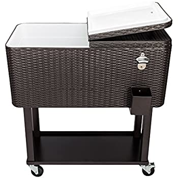 Amazon Com 80qt Rattan Rolling Ice Chest Portable Party