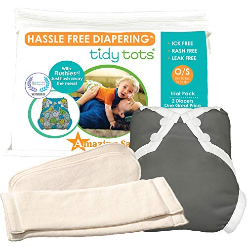 Tidy Tots Diapers Hassle Free 2 Diaper Trial Set (Grey)