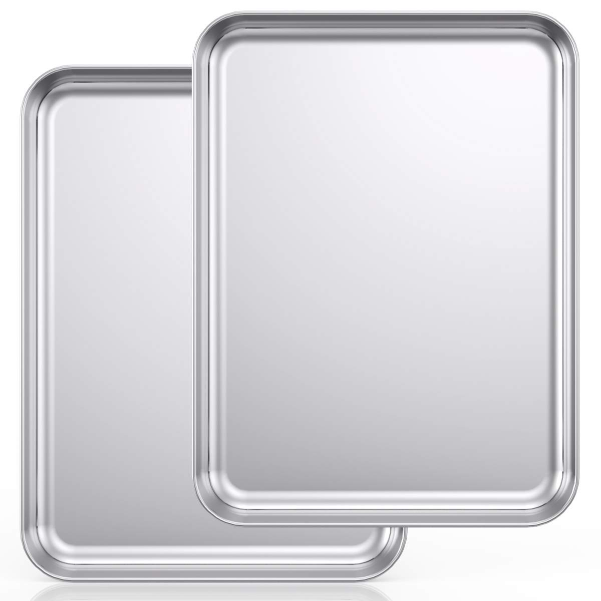 Baking Sheet Set of 2, Wildone Stainless Steel Baking Tray Cookie Pan, Size 20 x 14 x 1 Inch, Non Toxic & Heavy Duty & Easy Clean