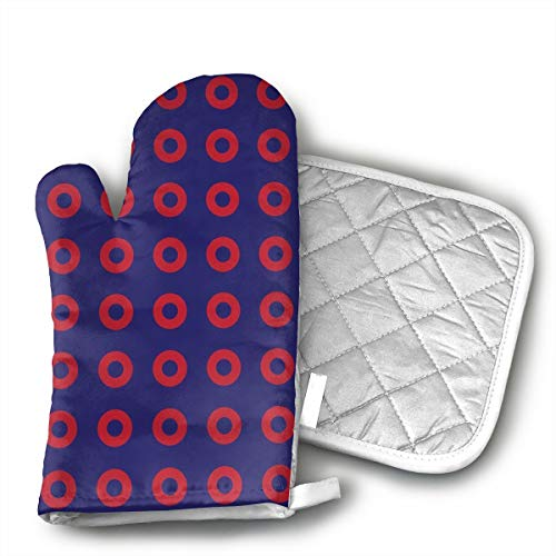 KEIOO Phish Red Donut Circles On Blue Oven Mitts and Potholders Heat Resistant Set of 2 Kitchen Set Non-Slip Grip Oven Gloves BBQ Cooking Baking -