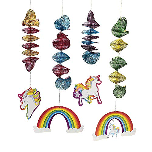 Fun Express - Unicorn Dangling Spirals for Party - Party Decor - Hanging Decor - Spirals & Swirls - Party - 12 Pieces ()