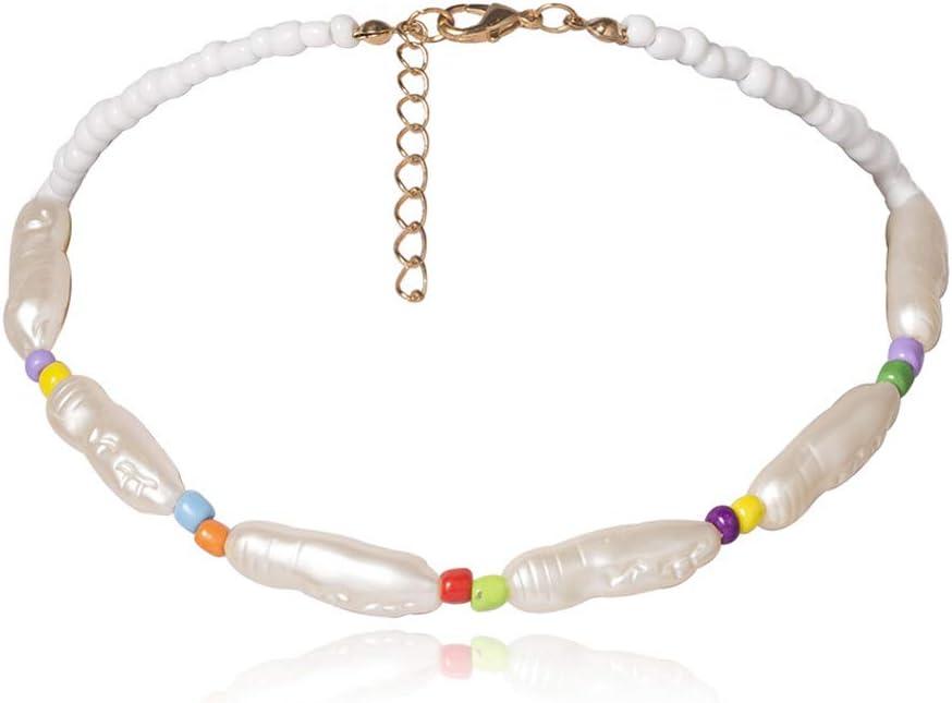 NICEWL Collar de Perlas Falsas con Forma Irregular de Rayas Barrocas,Cuentas de Colores Artificiales,Colgantes,Capa Única de Clavícula,Gargantilla de Cadena, Joyería de Mujer