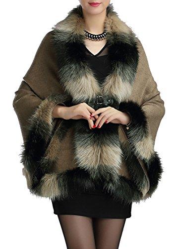 Cape fourrure Luxe Manteau en femmes fausse Cap Helan Kaki Chaud Style qRwPnp8