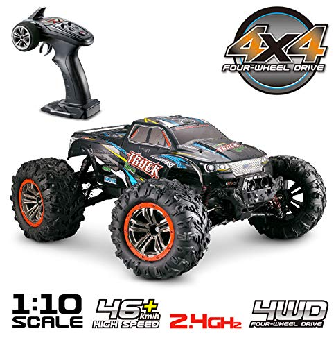 10 Electric Rc Car - Hosim Large Size 1:10 Scale High Speed 46km/h 4WD 2.4Ghz Remote Control Truck 9125, Radio Controlled Off-Road RC Car Electronic Monster Truck R/C RTR Hobby Grade Cross-Country Car (Blue)