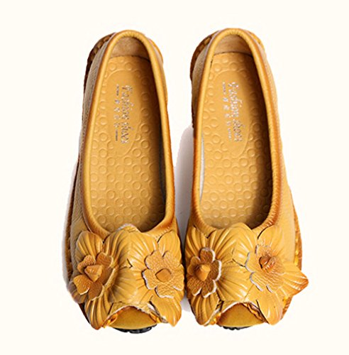 Slip Style Soojun Ons Flat Yellow Womens Cowhide Leather Shoes 3 Loafers Yx6OHwq