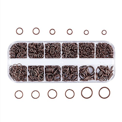 Pandahall Mixed Size 4-10mm Iron Open Jump Rings Nickel Free Red Copper Plated Unsoldered Round Ring Connectors for Chainmail Jewelry Bracelet Necklace Making -
