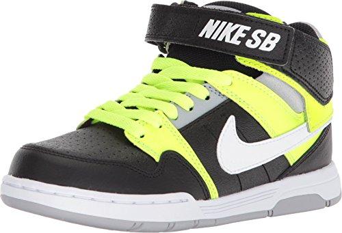 Nike Boys' Mogan Mid 2 Jr Skateboarding-Shoes, Black/White-Volt-Wolf Grey (1 M US Little Kid)