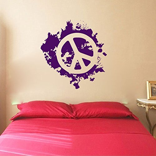 Peace Sign Symbol Paint Splatter Silhouette Vinyl Wall Words Decal Sticker Graphic (Sign Peace Splatter)