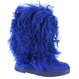 BEARPAW Women's Boetis 11'' Snow Boots, Blue Cow Hair, Lamb Fur, Sheepskin Fur, 11 M