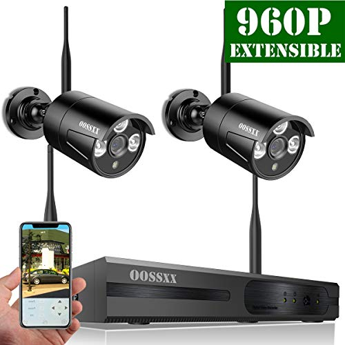 【2019 Update】 OOSSXX 4-Channel HD 960P Wireless Network/IP Security Camera System(IP Wireless WiFi NVR Kits),2Pcs 960P 1.3 Megapixel Wireless Indoor/Outdoor IR Bullet IP Cameras,P2P,App,No HDD