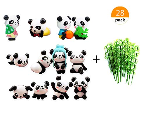 Price comparison product image Lauren 28 Pack Plastic 3d Panda and Emulation Bamboo Cake Toppers Decorations for Birthday Theme Party