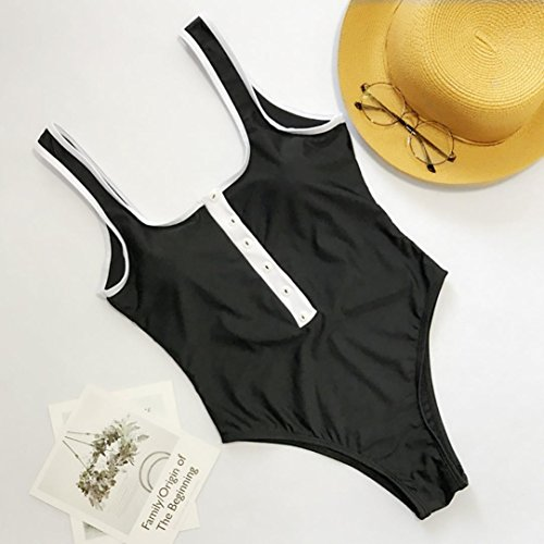 Swimwear Pure Bra da Cuciture da Costume Push Swimwear Color bagno Set Adeshop Black Bikini Vest up Costumi bagno Button Women qztOZS
