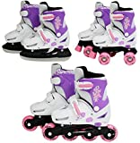 SK8 Zone Mädchen Rosa 3in1 Roller Klingen Inline Rollschuhe Verstellbare Größe Kinder Pro Kombo Multi Eislaufen Stiefel