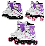 SK8 Zone Girls Pink 3in1 Roller Blades Inline Quad Skates Adjustable Size Childrens Kids Pro Combo Multi Ice Skating Boots Shoes New (Small 9-12 (27-30 EU))