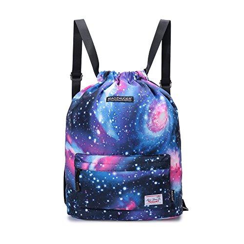 Yinjue Galaxy Drawstring Backpack College School Daypack Bulk Sport Gym Sack Pack for Women&Men Yoga Beach Bag Daily Backpack (xkBlue44)