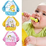 LUQUAN Cute Cartoon Animal Children Baby Waterproof Long Sleeve Bib Apron For Baby Self Feeding