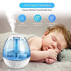 Cool Mist Humidifier - Ultrasonic Humidifiers Air Humidifiers for Bedroom, 1 Gallon Mist Humidifiers with Quiet High Mist Output, Multi Mist Levels, Various Night Lights, ETL Approved, Filter Free