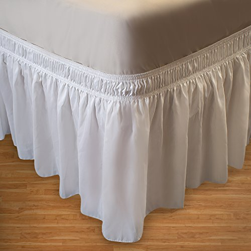 Full Dust Ruffle (Wrap Around Bed Skirt Elastic Dust Ruffle Easy Fit Wrinkle and Fade Resistant Solid Color Fabric (Twin/Full, White))