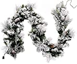 CraftMore Frosted Holiday Pine Garland with Lights 6 Feet