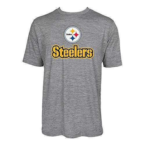 NFL Pittsburgh Steelers Men's Tonal Gray Wordmark Logo Tee, Gray, X-Large