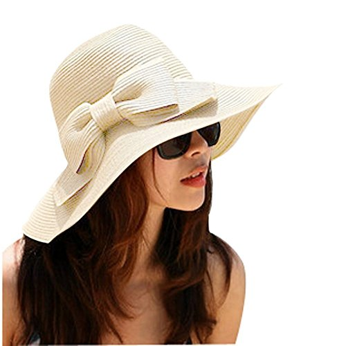 Aisa Women's Foldable Bowknot Floppy Straw Sun Hat Wide Brim Beach Sun Visor Hat Cap Color Beige