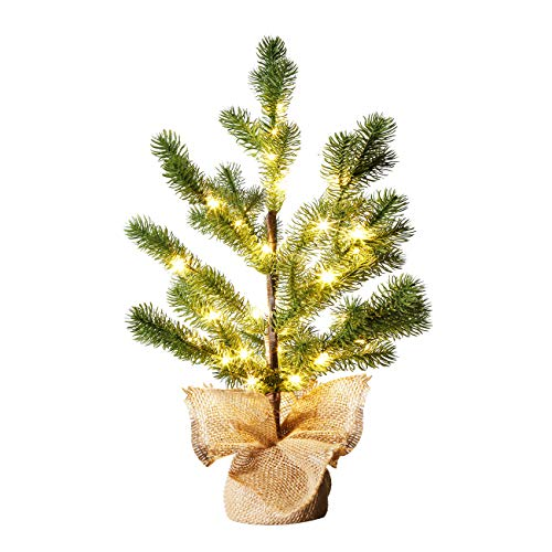 Vanthylit 1.5FT Pine Tree with 36 Warm White Fairy Lights, Small Pre-lit Pine Tree for Tabletop Decorations