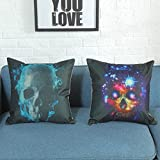 "Set Of 2 Packs Halloween Skeleton Print Pillowcase - Woaills Flax Zipper Closure Sofa Cushion Cover Home Decor 18"" x 18"""