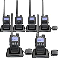 Retevis RT87 2 Way Radios IP67 Waterproof 128 channels VOX Scan Security Outdoor Two Way Radios (black,6 pack) with FM Function