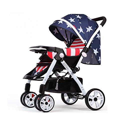 TIANG-Fold Umbrella Baby Stand Strollers With Convenient Roomy Storage(captain America) by TIANG