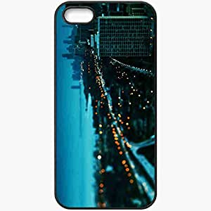 Protective Case Back Cover For iPhone 5 5S Case Chicago Building Sunset Winter Lights Beautifully Black